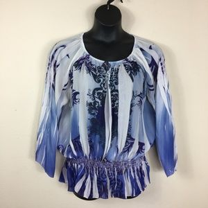 New Directions Blue Peasant Blouse Size Large